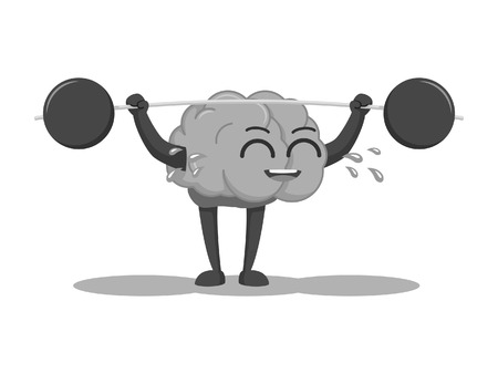 Brain character lifting barbel black and white style