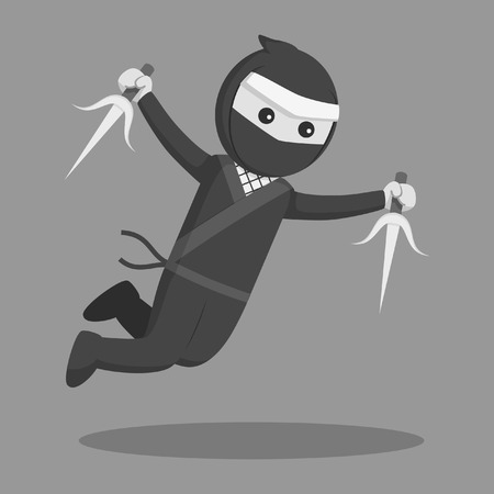 ninja jumping attack with sai black and white style