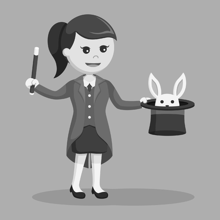 woman magician with rabbit form her hat black and white style