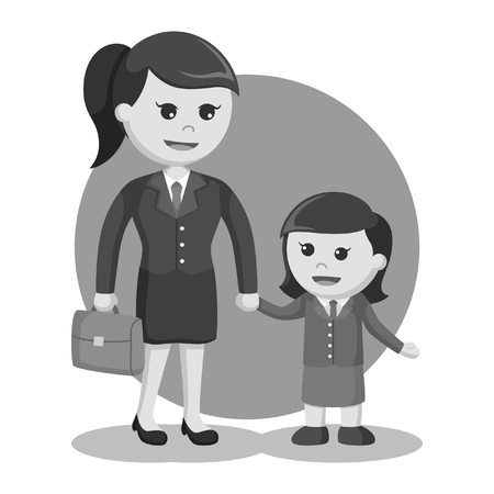 mom and daughter dressed as businesswoman black and white style Illusztráció