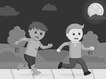 zombie chasing man illustration design black and white style