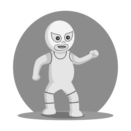 White lucha libre taunt pose black and white style. Illustration