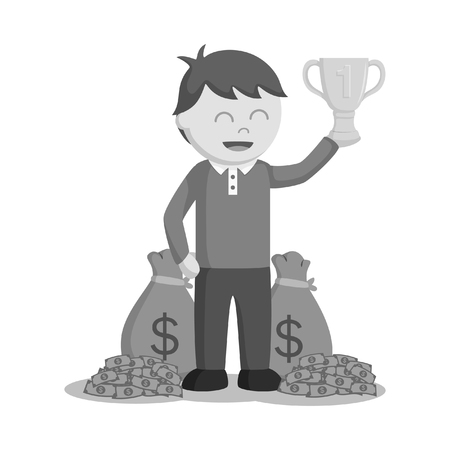 Man winning trophy and money black and white style.