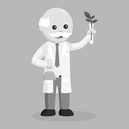 Man scientist experiment with plant black and white style. Illustration