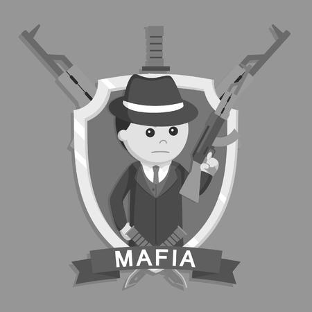 mafia holding rifle in emblem black and white style Illustration