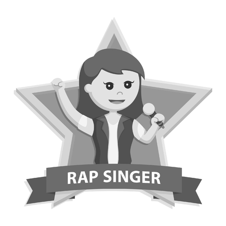 rap singer woman in star emblem black and white style