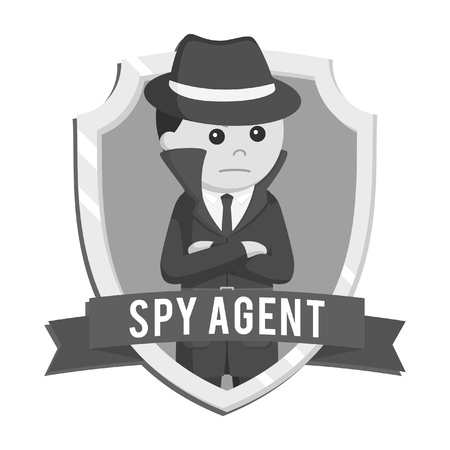 spy in emblem vector illustration design black and white style  イラスト・ベクター素材