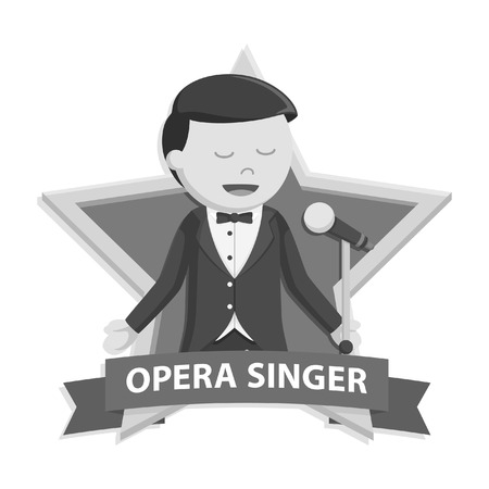 singer man in star emblem black and white style