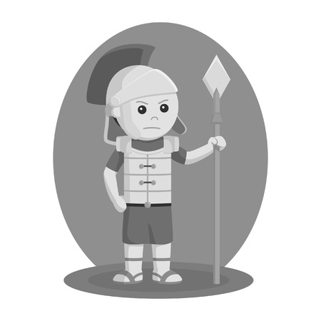 Gladiator with spear vector illustration design black and white style