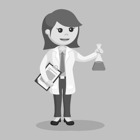 woman scientist with clipboard and test tube black and white style