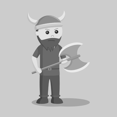 viking soldier wield axe black and white style