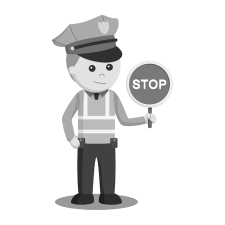 traffic police with stop sign black and white style Illustration