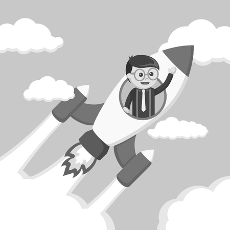 Nerd ride rocket vector illustration design black and white style