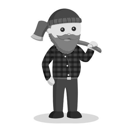 Fat lumberjack carrying axe on his shoulder black and white style