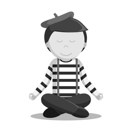 A mime performing pantomime mediation black and white style isolated on plain background.