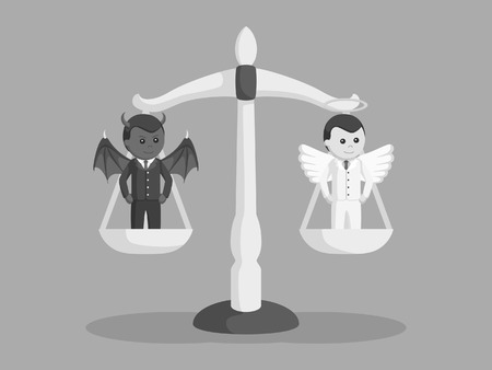 devil and angel businessman on balancing scale black and white style Illustration
