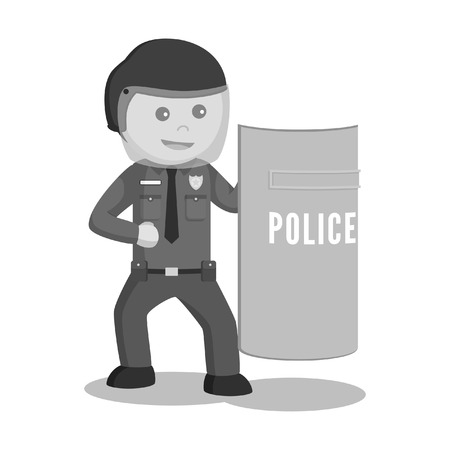 Police officer holding shield black and white style. Stock Illustratie
