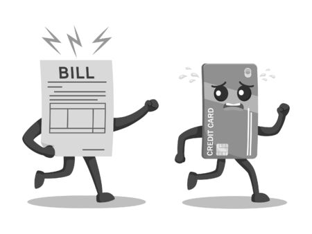 Credit card character escaping from bill black and white style. Illustration