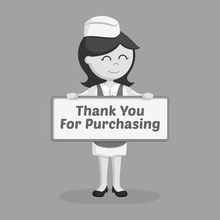 mujer del carnicero con las tarjetas de estilo de la cera en blanco y negro