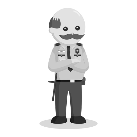 fat security officer standing pose black and white style