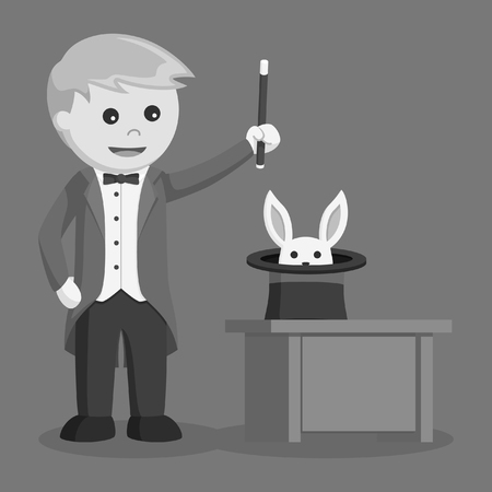 magician summon rabbit from his hat black and white style