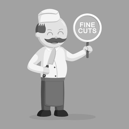 Butcher man with fine cuts sign in black and white style illustration. Illustration