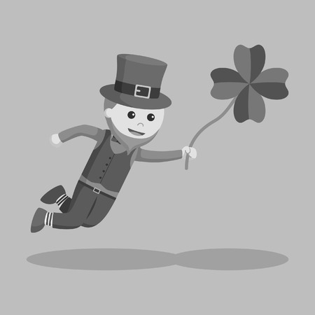 Leprechaun fly with clover leaf black and white style Illustration