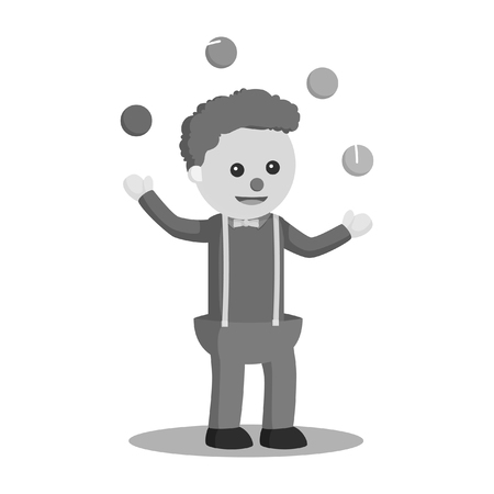 Clown juggling ball vector illustration design black and white style.
