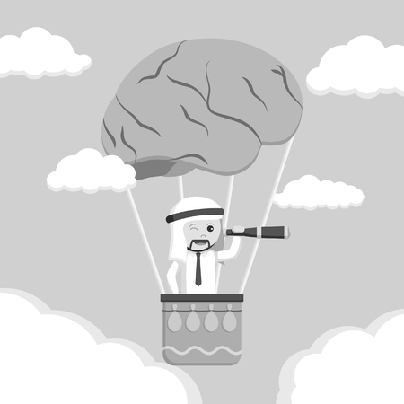 Arabian man searching from brain air balloon black and white style