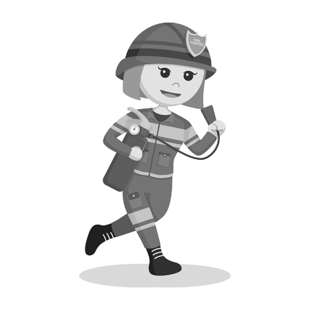 A fire woman running with fire extinguisher black and white style