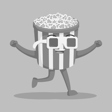 popcorn character wearing 3d glasses black and white style