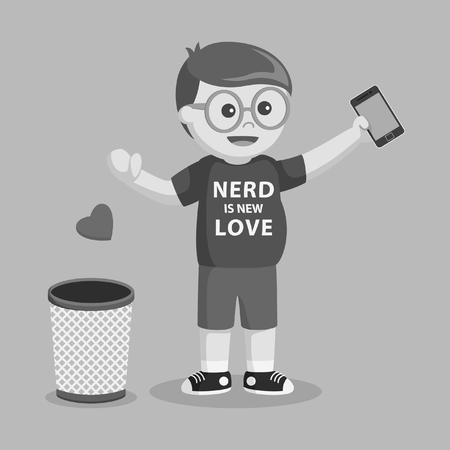 nerd throwing love into trash black and white style