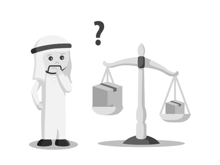 arab businessman confused with cardboard weight black and white style