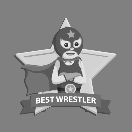 Lucha libre in best emblem black and white style