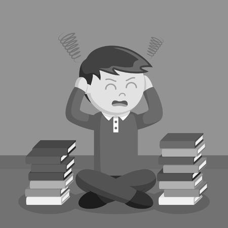 De stress van de tienerjongen uit met de zwart-witte stijl van schoolboeken