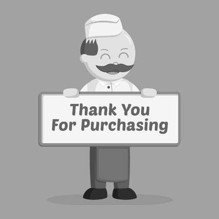 fat butcher man with compliments board black and white style Vector illustration. Stock Illustratie
