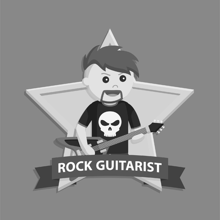 Rock guitarist in emblem black and white style