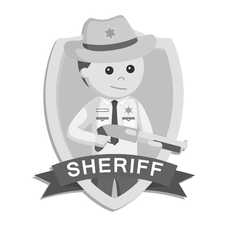 A sheriff officer in emblem colorful black and white style 일러스트
