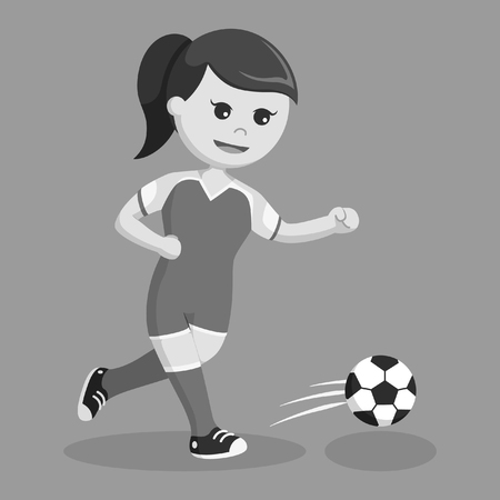 Soccer ball player girl running black and white style Ilustração