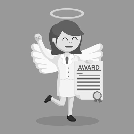 angel businesswoman with certificate award black and white style