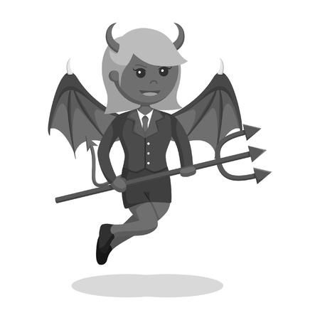 devil businesswoman flying holding trident black and white style Illustration