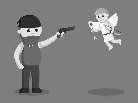 fat man aiming gun to cupid black and white style