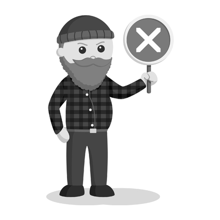 fat lumberjack with crosswise sign black and white style Ilustração