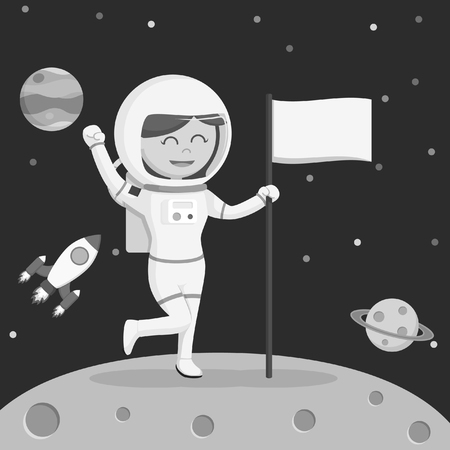 astronaut girl moon landing black and white style
