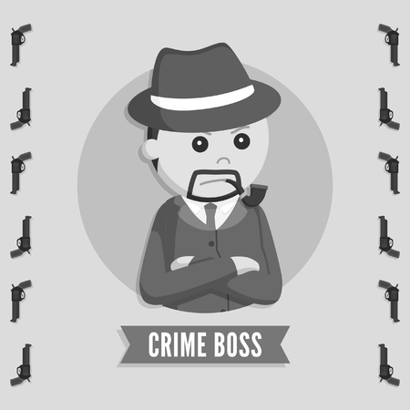 crime boss in circle logo black and white style