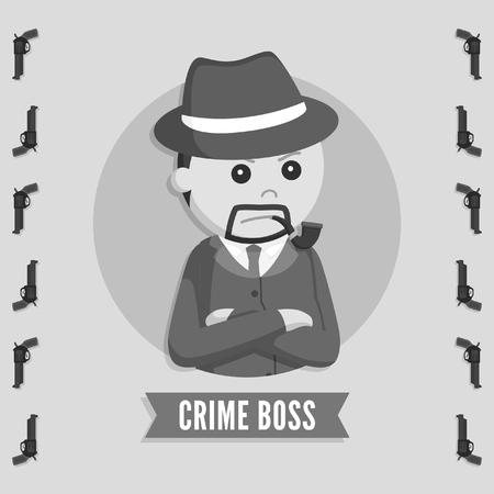 patron du crime dans le style cercle logo noir et blanc Logo