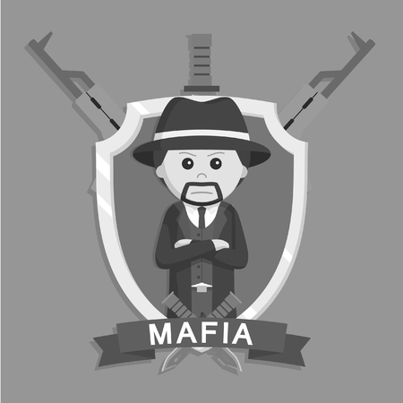 Mafia boss in emblem black and white style Illustration