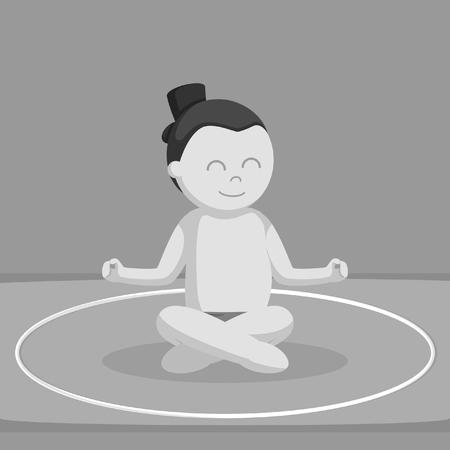 sumoworstelaar mediteren zwart-witte stijlontwerp