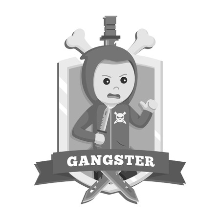 hoodie gangster in emblem black and white style Illustration