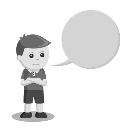 little boy angry with callout black and white style Ilustrace